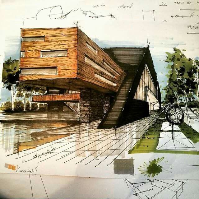 Pin by doyu kim on sketch rendering pinterest Wood architecture definition