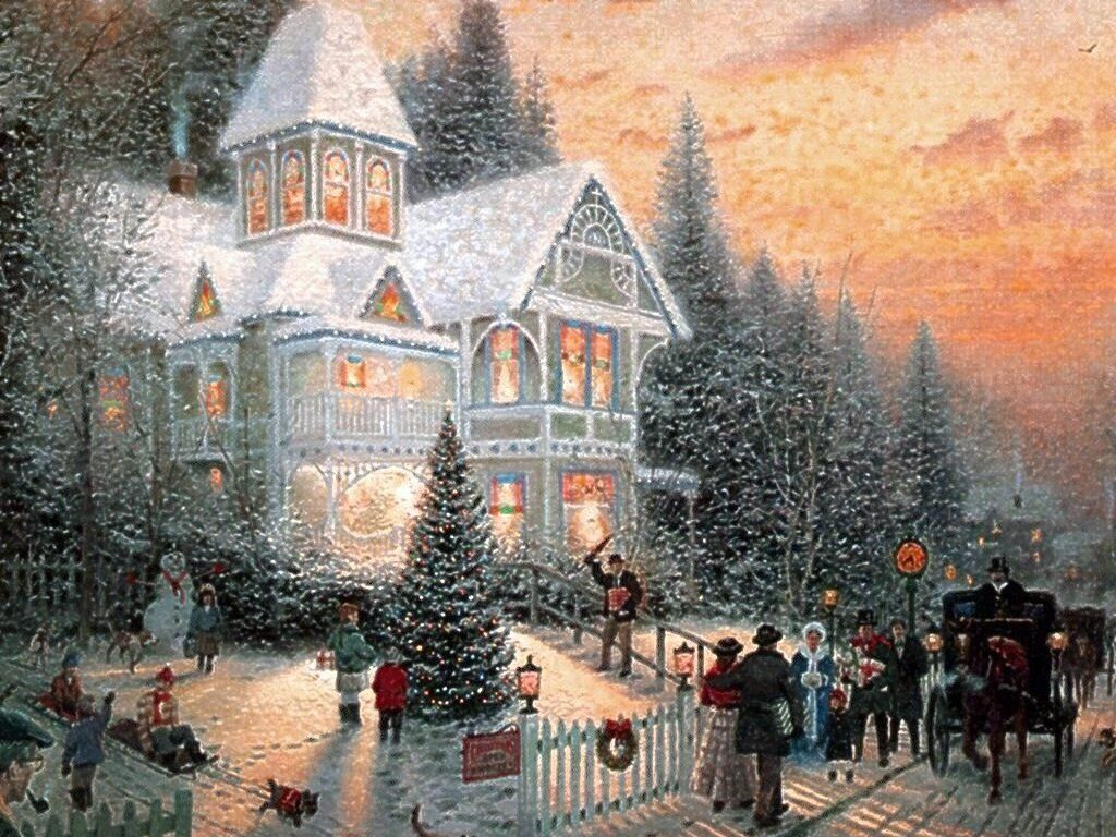 Free Christmas Wallpapers And Screensavers Free Christmas Scenary Wallpaper Download Fr Thomas Kinkade Paintings Kinkade Paintings Thomas Kinkade Christmas