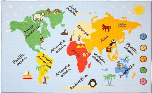 Kids rug continents and oceans map of the world 4 x 6 by kids rug continents and oceans map of the world 4 x 6 gumiabroncs Image collections