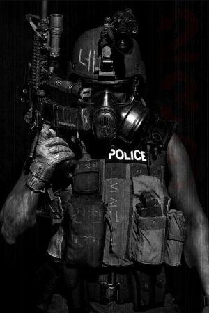 Futuristic Warrior Art | future soldier, cyberpunk, future police, mask, armor, gun,