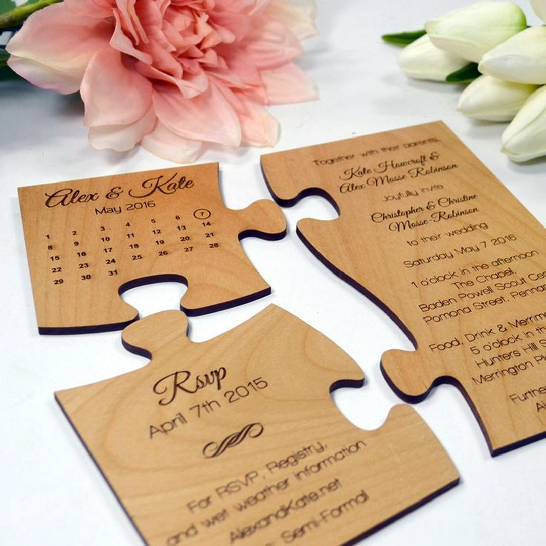 10 Unique Wedding Invitation Ideas For Your Wedding Inspirations Uniqueweddingi In 2020 Wooden Wedding Invitations Wood Wedding Invitations Puzzle Wedding Invitation
