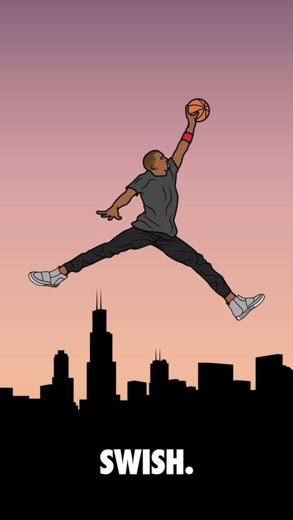 Chicago Legends Merge Together In This Illustration Featuring Kanye West The Michael Jordan Jumpman Pose Flying Over Chitown And SWISH