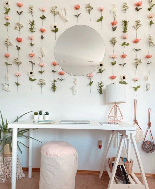 Hanging Fake Flower Wall For Backdrops And Room Decor Boho Etsy Bedroom Pink Wedding Mothersday Room Inspiration Bedroom Room Ideas Bedroom Walls Room