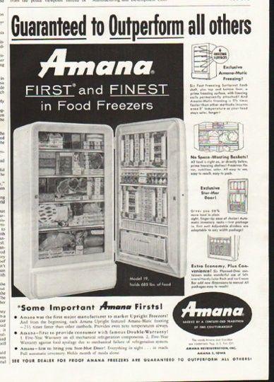 1958 Amana Freezer Vintage Ad First And Finest Vintage Ads