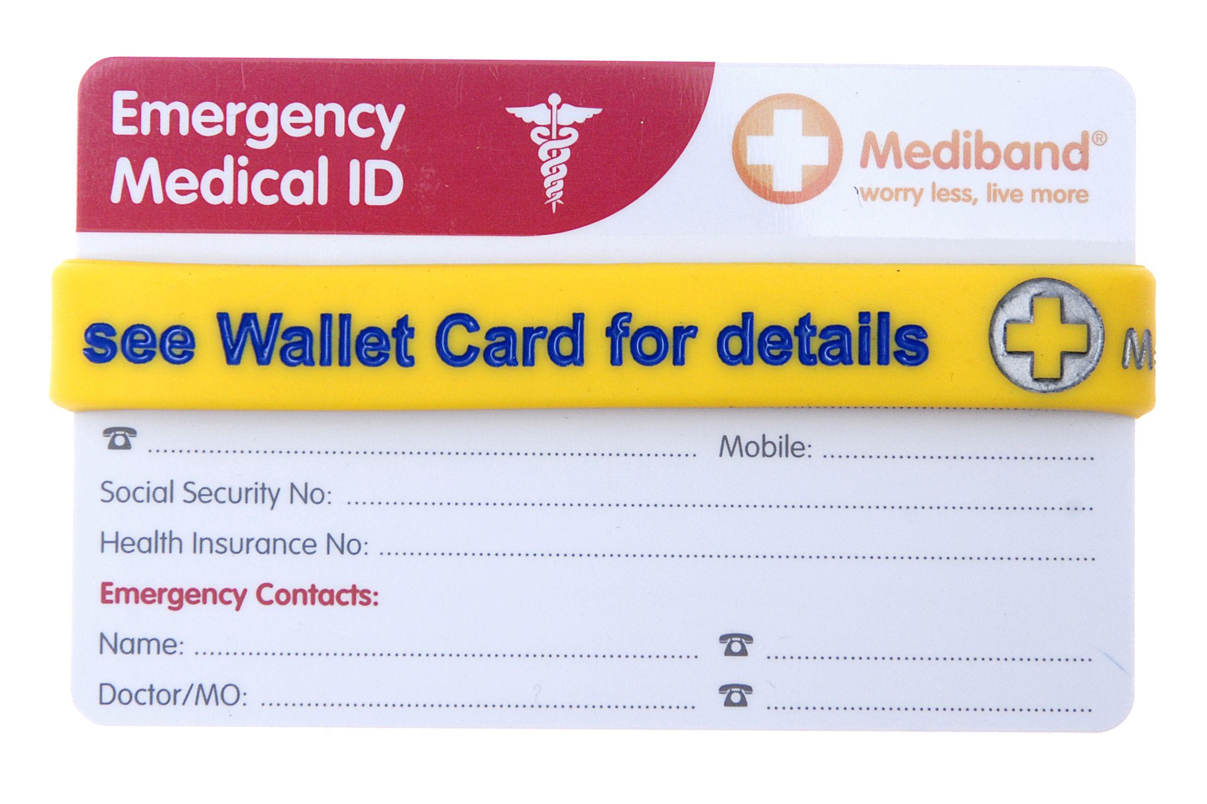 Emergency wallet card mediband bracelet from mediband