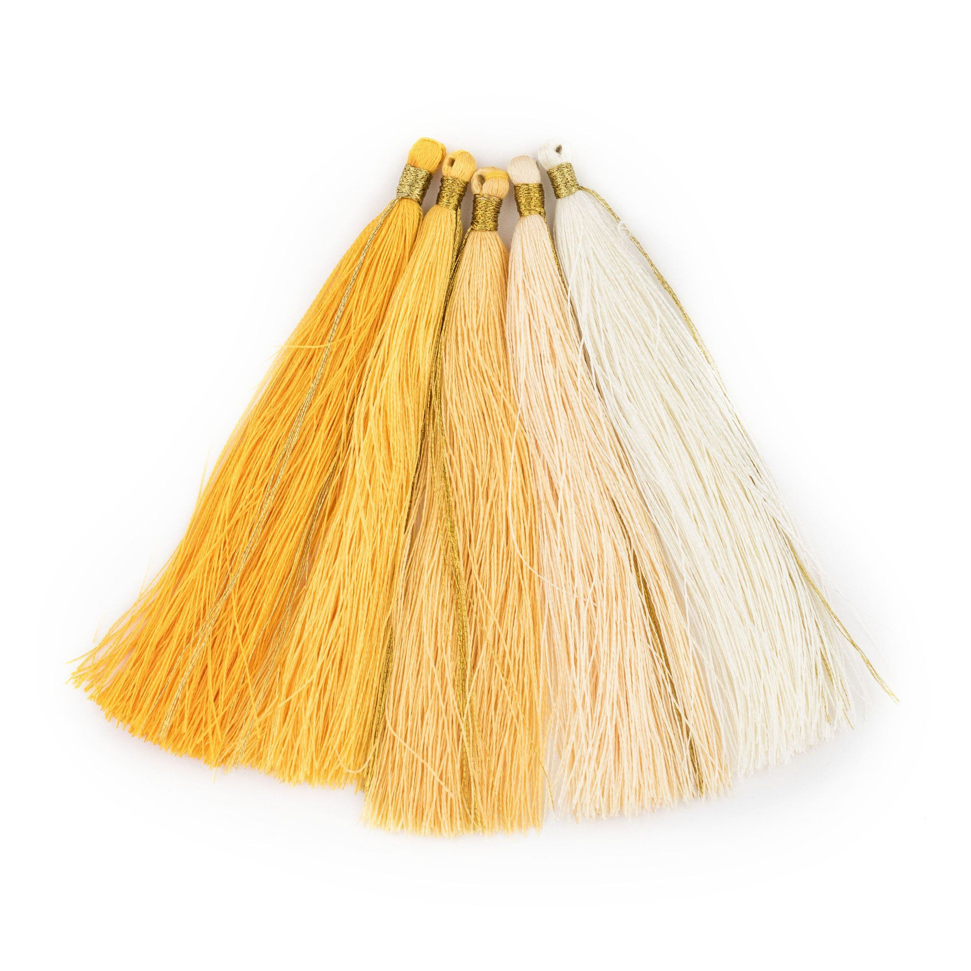 Shades Of Yellow 9cm Silk Tassels 5 Pack Shades Of Yellow