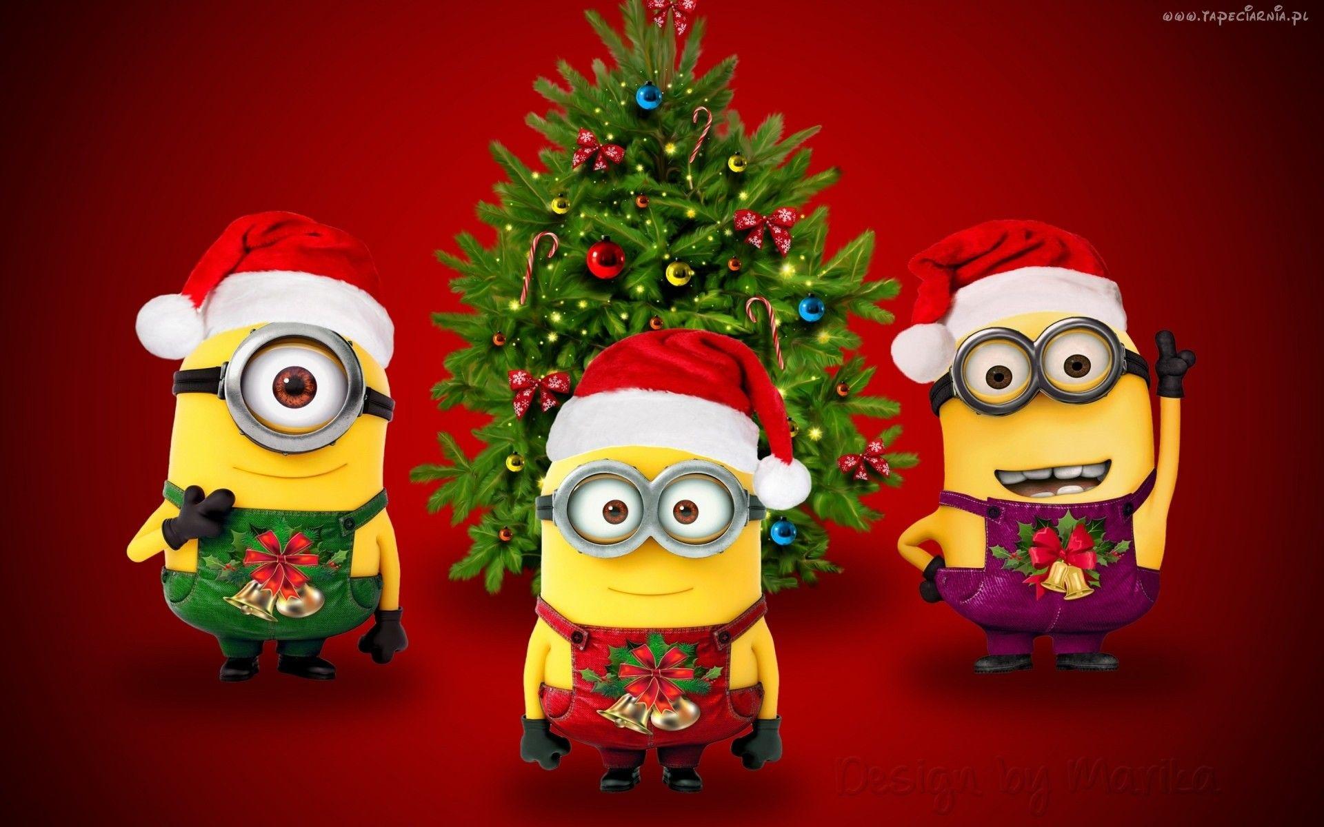 Trzy Minionki świąteczne Stroje Choinka Minion Christmas Merry Christmas Minions Funny Christmas Wallpaper