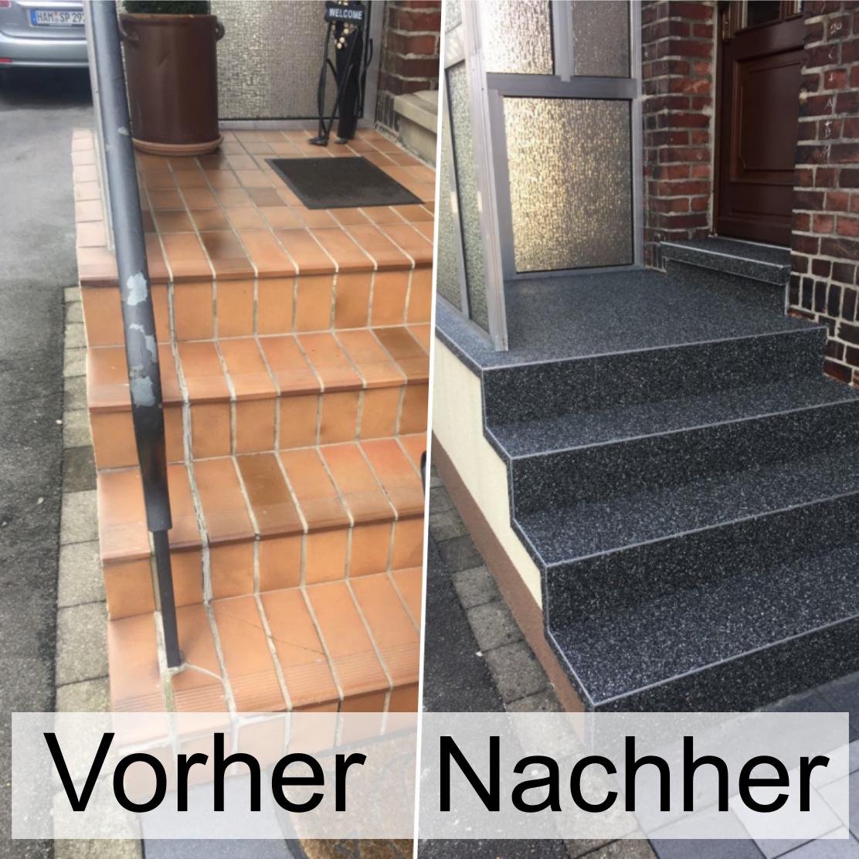 Treppenrenovierung Mit Steinteppich Ohne Abriss Die Beschichtung