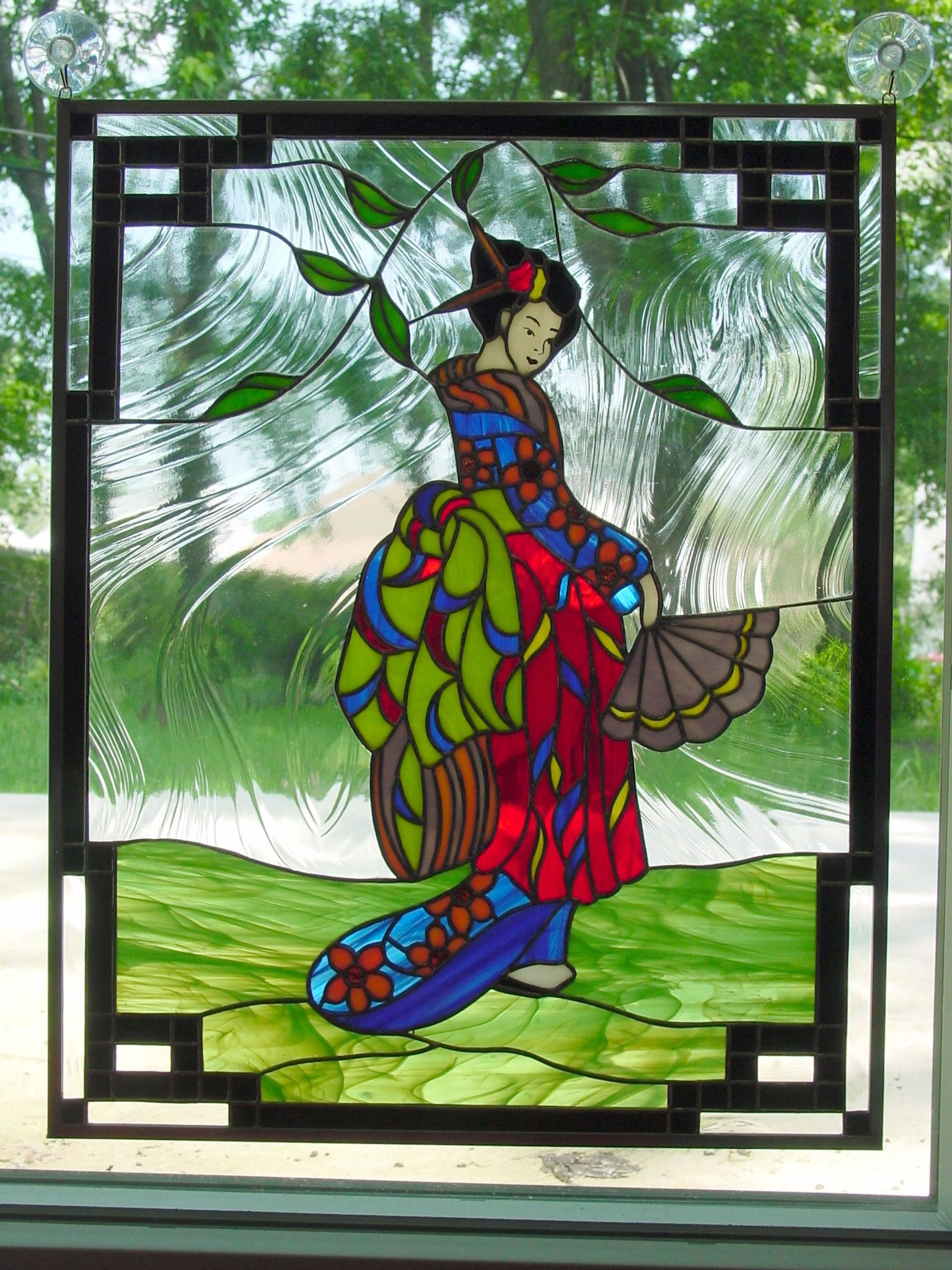 Beach theme decoration stained glass window panels arts crafts - Decorative Panels Kim S Geisha Jpg Stained Glass Panelsglass Artproject
