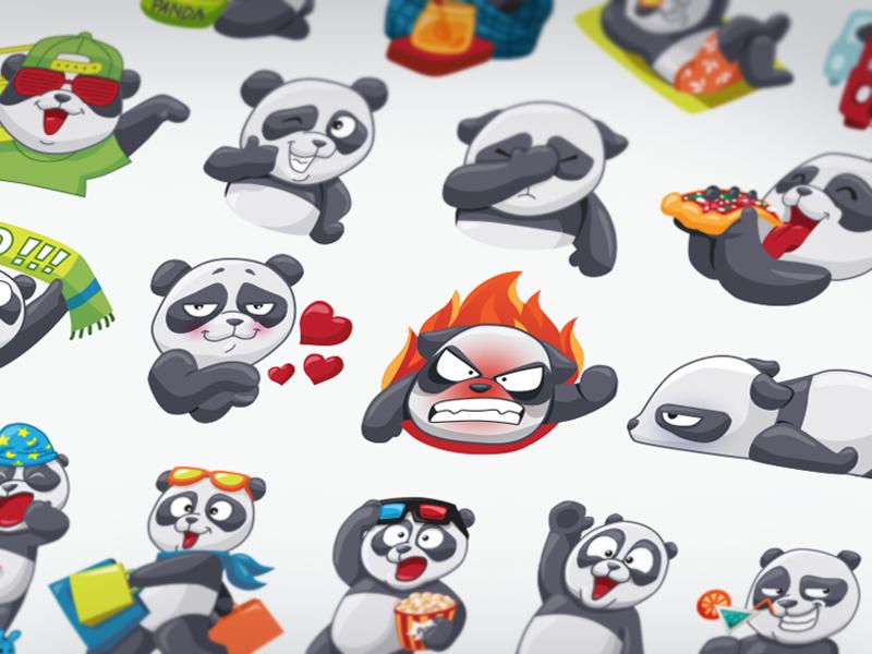 Panda Stickers Set for IM / Bogdana Serebriyan for Mail.Ru