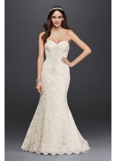 Oleg Cassini Strapless Lace Trumpet Wedding Dress Crl277 My