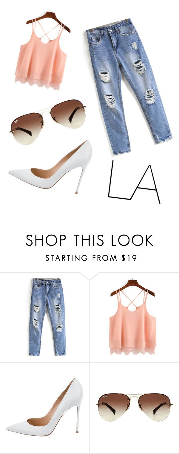"""""""trip to la"""" by rainbowdash1313 on Polyvore featuring Gianvito Rossi and Ray-Ban"""