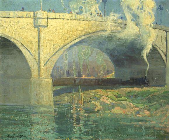 """Buena Vista Bridge, Los Angeles,"" Paul Lauritz, oil on canva, 20 x 24 1/4"", private collection."