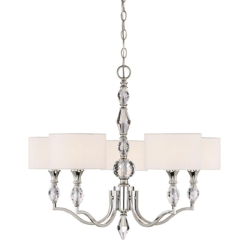 Modern Fabric Shades Chandeliers with 5 Lights Chrome