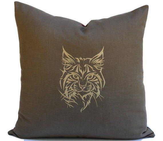 Cat Silhouette Pillow Woodland Animals Nursery Decor Kitty Throw Pillow Woodland Nursery Animal Prin