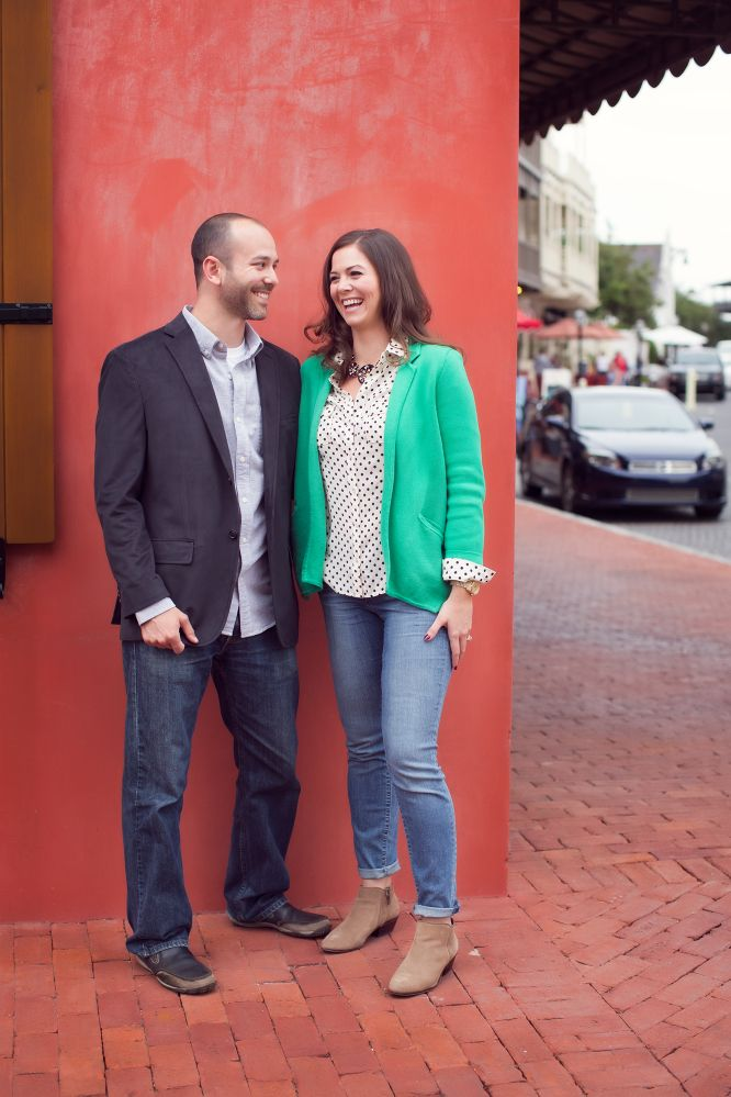 Always loved this red wall in Rosemary Beach Pooler Engagement, photo by: Amanda Sause Photography