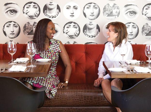 Fina Uwineza, a Rwandan restaurateur, and Lori Tyler, owner of Stella Modern Italian Cuisine in Oklahoma City - photo by Carli Wentworth