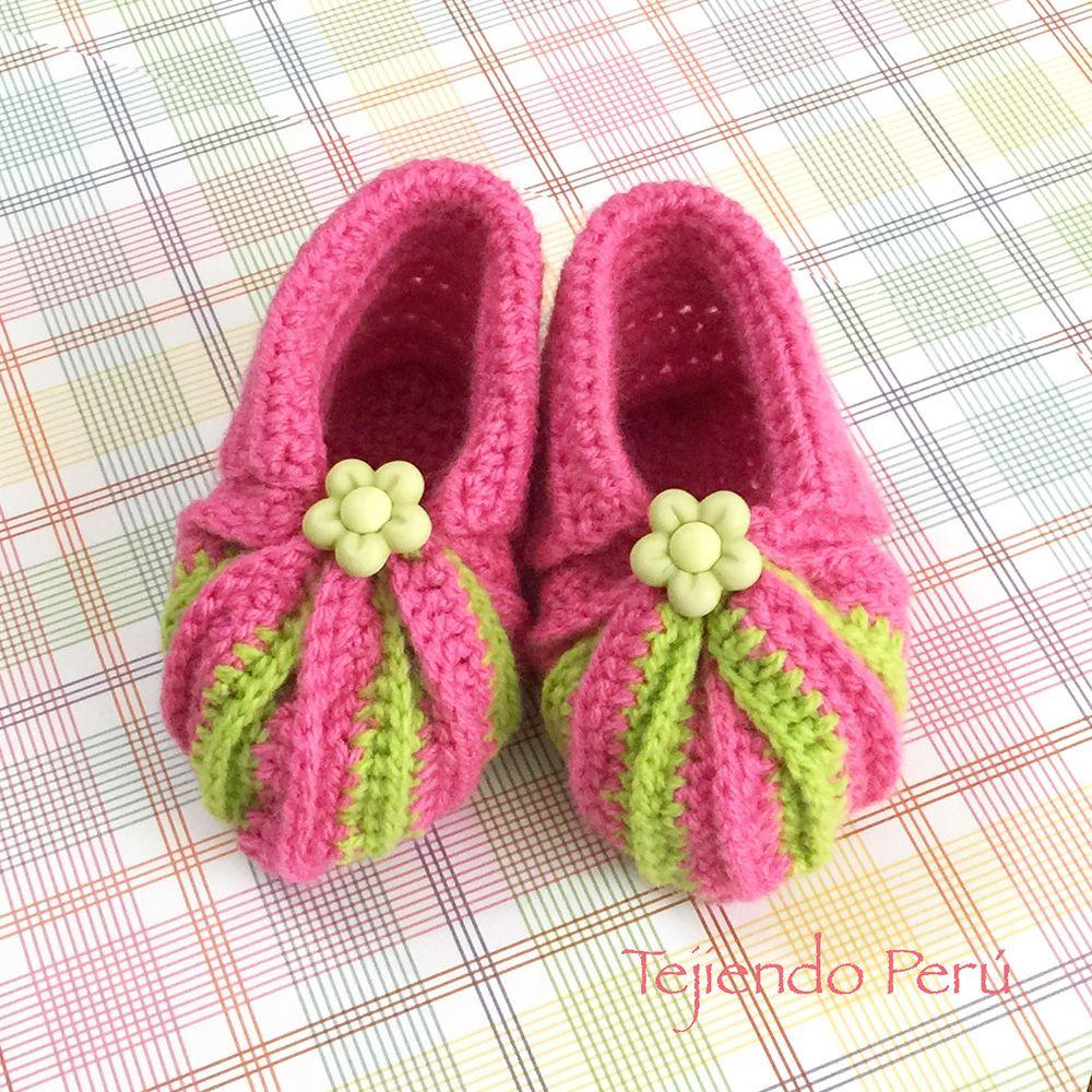 Crochet: zapatitos con punta acordeón en dos colores! Adaptamos el ...