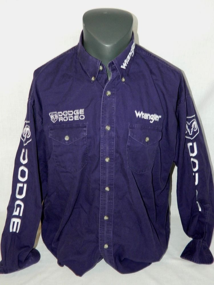 18a2552c24 WRANGLER Mens XL Purple Dodge Ram Rodeo SPELL OUT Long Sleeve Western Shirt   Wrangler  Western