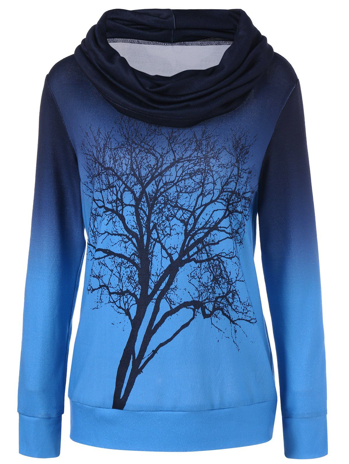 Ombre Tree Print Cowl Neck Sweatshirt | Tree print, Cowl neck and ...