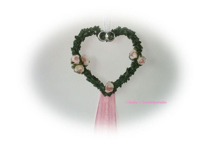 Hochzeit Deko Herz rose von Claudia`s Geschenkparadies