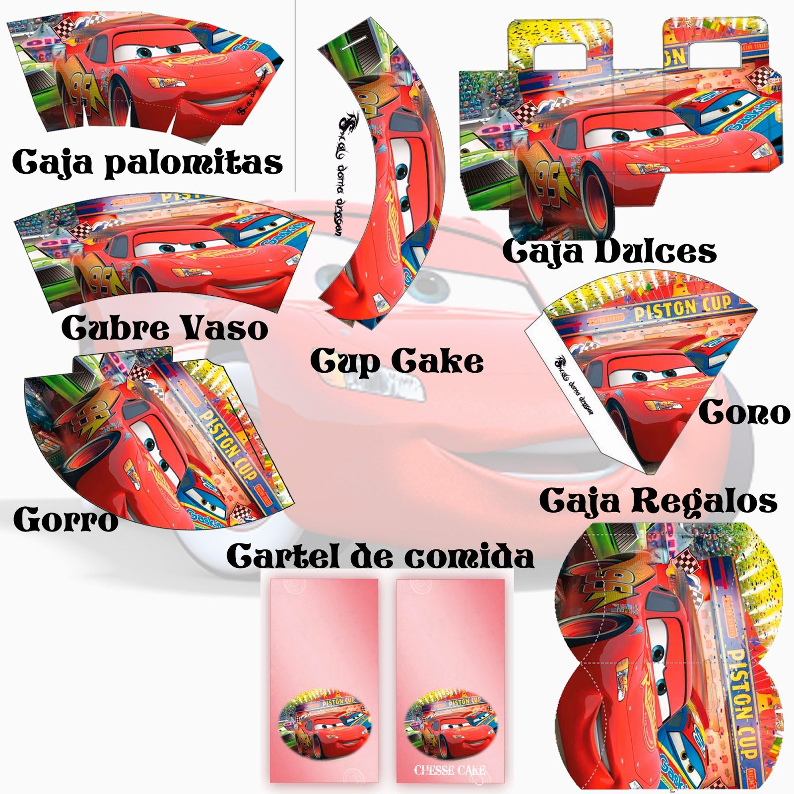 Kit de cumplea os cars cars fiestas and birthdays - Manualidades para cumpleanos infantiles ...