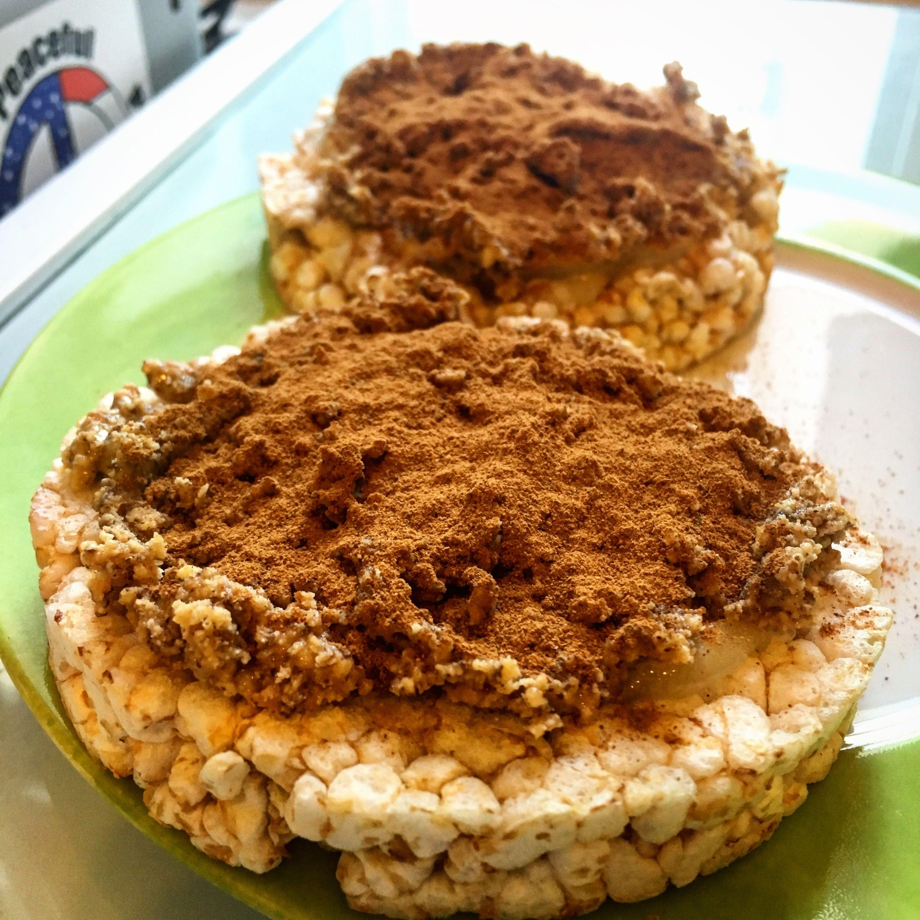 My favorite breakfast rice cake brown or wild raw honey