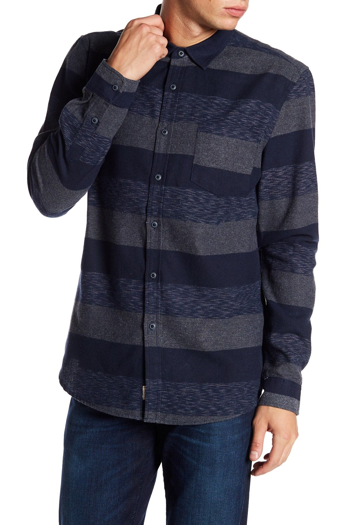 d2e5072f5d Micros Hunter Long Sleeve Regular Fit Woven Stripe Flannel Shirt ...