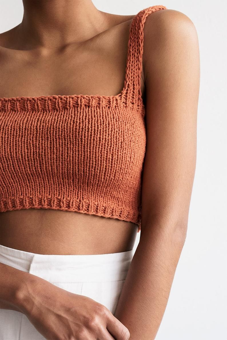Square Neck Crop Top, Minimal Knit Top, Hand Knit