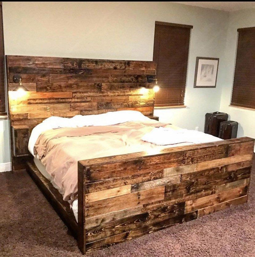 Rustic Bed Set Headboard Footboard Bed Frame Cabinets Outlets