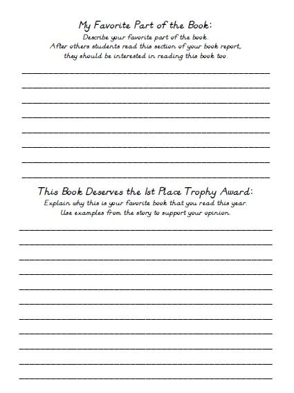 End of Year Lesson Plans Teaching Resources for June and July - book report printable