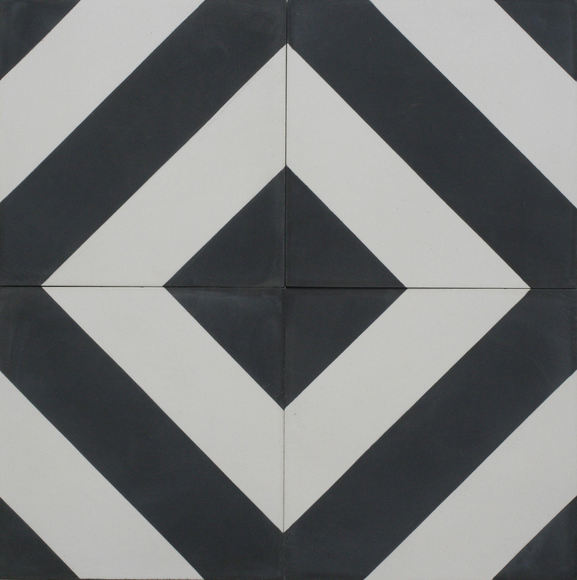 Diagonal Black & White Encaustic Cement Tile Bespoke Tile and Stone