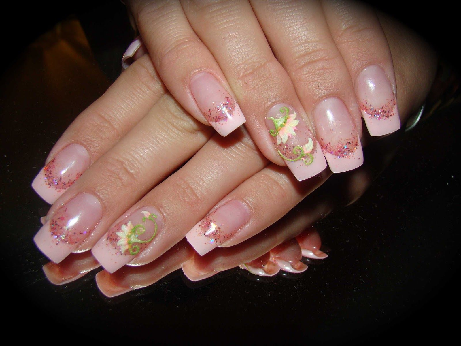 french+nail+designs+Gel   Gel French with Acrylic 3-D Flower Nail ...