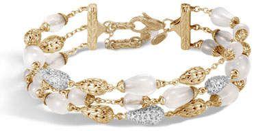 John Hardy 18k Classic Chain Multi-Row Bracelet w/ Diamond Droplets, Size Medium