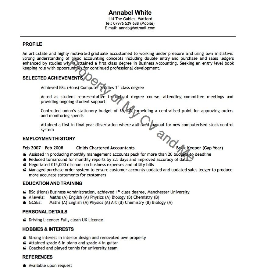 Cv Examples | Cv Example Of Recent Graduate | Cv Info | Pinterest