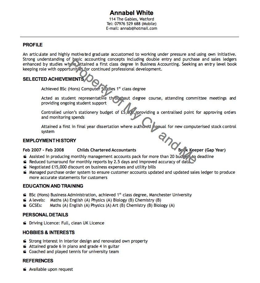 cv examples CV Example Of Recent Graduate