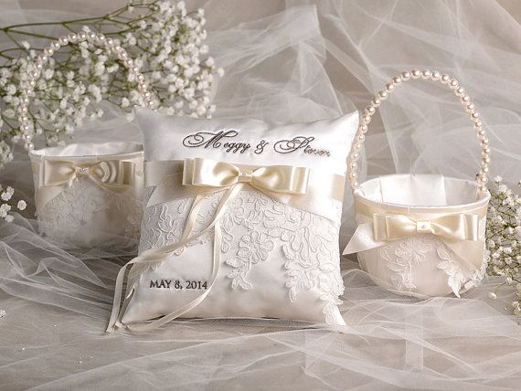 Vintage Flower Girl Basket And Ring Bearer Pillow : Flower girl basket ring bearer pillow set by