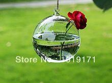 Ronde 6/8 cm 4 pcs Artificielle Pots De Fleurs Planteur Hydroponique Pendaison Boule En Verre Vase Mariage Décoration Clair F93(China (Mainland))