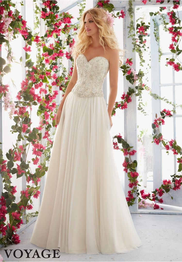 Wedding dresses by voyage featuring bodice with skirt