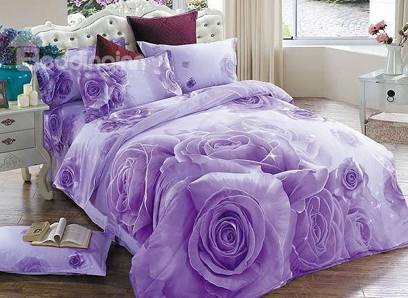 Brilliant Purple Rose Print 4 Piece Cotton Duvet Cover Sets On