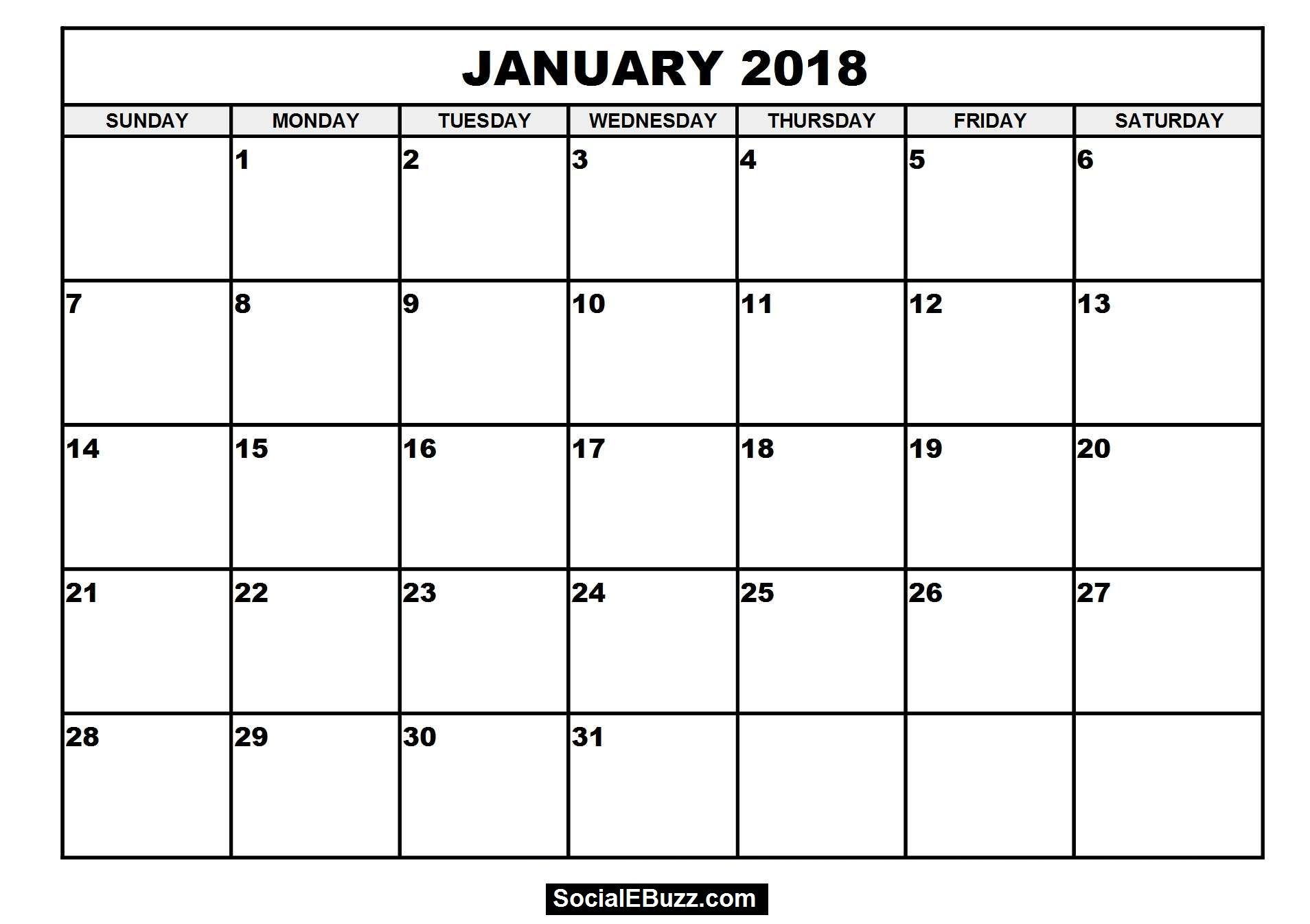 January 2018 Calendar Printable Template With Holidays Pdf Usa Uk