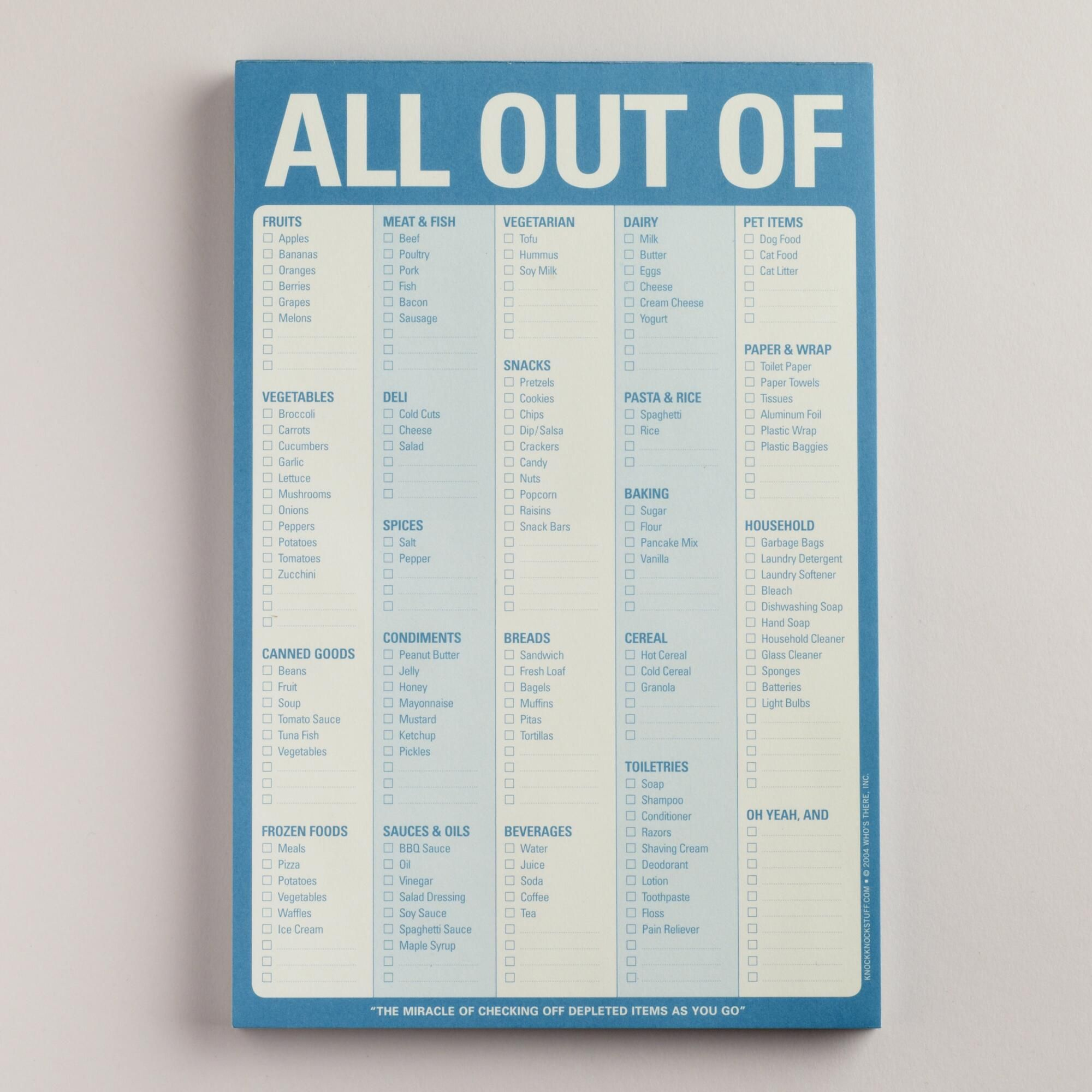 Keep track of everything you need with our All Out Of Pad, with a ...