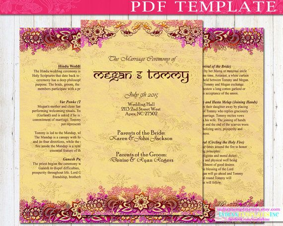 Indian Wedding Program Booklet Template DIY By IndianTemplatesInc