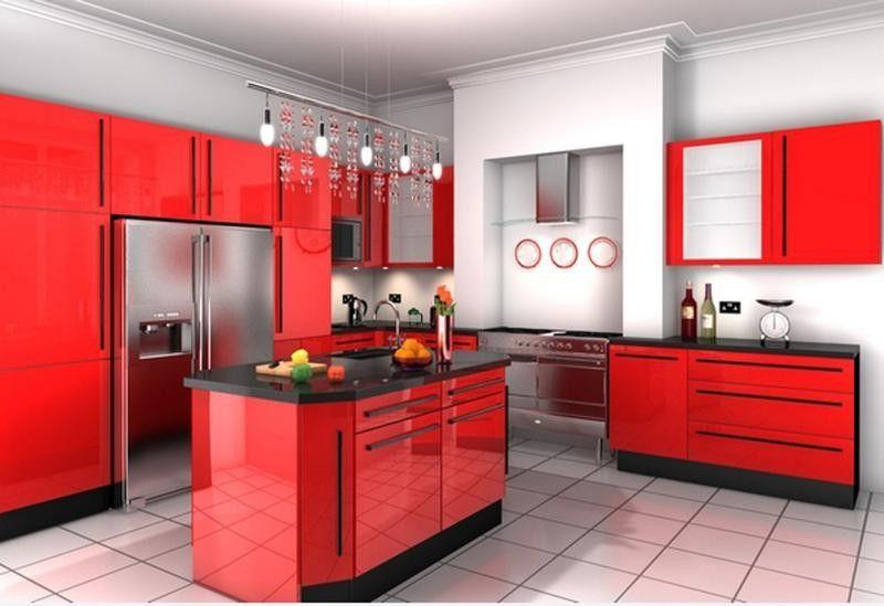 Diese moderne Küche dominiert die rote Farbe mit seinen ...