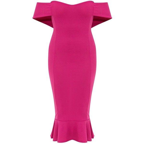 Fuchsia Pink Bardot Frill Hem Midi Dress ($35) ❤ liked on Polyvore ...