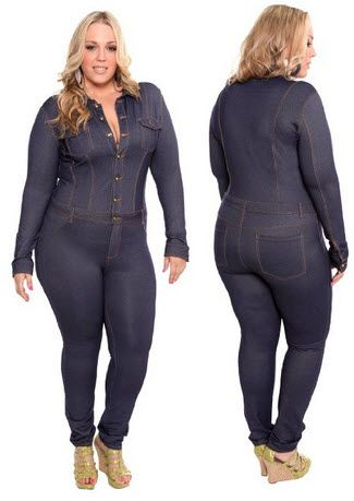 8838cab37937 Plus-size denim jumpsuits