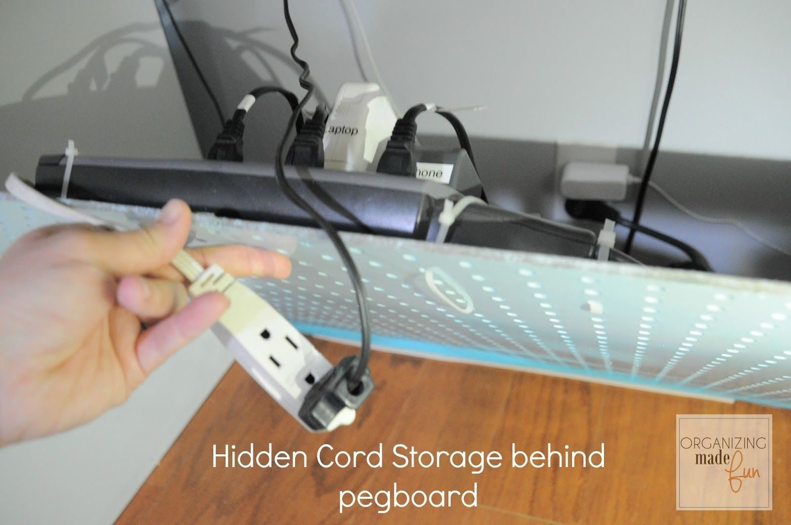 How To Hide Messy Cords With Pegboard Pegboard Organization Peg