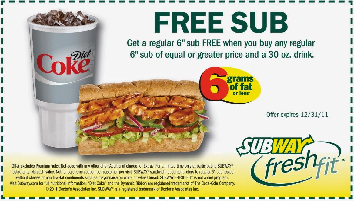 Free Printable Coupons: Subway Coupons | Printable Coupons Deals ...