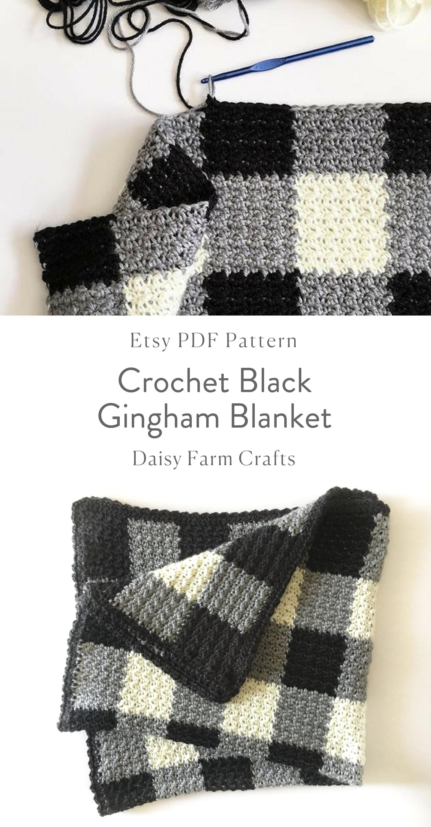 Etsy Pdf Pattern Crochet Black Gingham Blanket By Tashiab Basic Granny Square Stitch Diagram