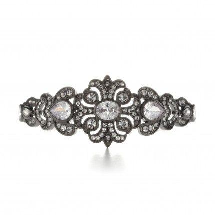 9.2 Carat Victorian Gunmetal Cuff Bracelet
